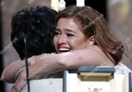 Philippino Actress Jaclyn Jose (l) Hugs Philippino Actress Andi Eigenmann (r) After Receiving the Best Performance by an Actress Award For 'Ma'rosa' During the Closing Award Ceremony of the 69th Cannes Film Festival in Cannes France 22 May 2016 For the First Time in the Festival History the Golden Palm Winning Movie Will Be Screened at the Closing Ceremony France Cannes
