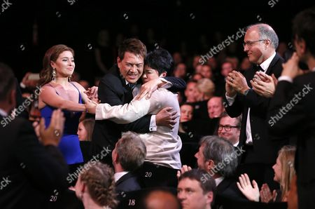 Philippino Actress Jaclyn Jose (r) Hugs Philippino Director Brillante Mendoza (l) After Receiving the Best Performance by an Actress Award For 'Ma'rosa' During the Closing Award Ceremony of the 69th Cannes Film Festival in Cannes France 22 May 2016 For the First Time in the Festival History the Golden Palm Winning Movie Will Be Screened at the Closing Ceremony France Cannes