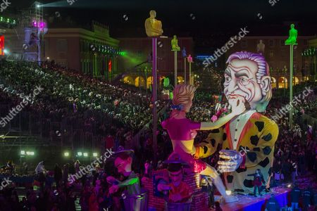 A Float Named 'The Trap' Depicting French Former Imf Head and Politician Dominique Strauss-kahn Parades During the 2016 Nice Carnival in Nice France 13 February 2016 the 2016 Nice Carnival Runs From 13 to 18 February and the Theme Will Be 'King of Media' France Nice