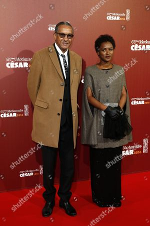 Mauritanian Director Abderrahmane Sissako (l) and Screenwriter Kessen Tall (r) Arrive For the 41st Annual Cesar Awards Ceremony Held at the Chatelet Theatre in Paris France 26 February 2016 France Paris