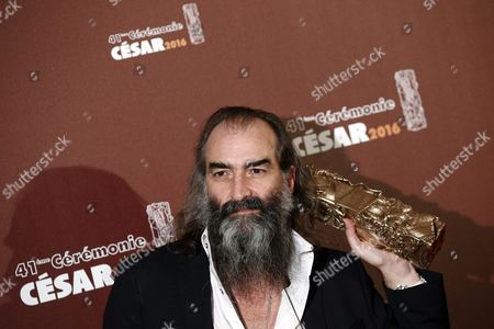 Australian Musician and Composer Warren Ellis Poses with the Best Original Soundtrack Award For 'Mustang' During the 41st Annual Cesar Awards Ceremony Held at the Chatelet Theatre in Paris France 26 February 2016 France Paris