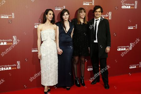 Stock Picture of French Director Deniz Gamze Erguven (l) Actress Tugba Sunguroglu (2-l) and Guests Arrive For the 41st Annual Cesar Awards Ceremony Held at the Chatelet Theatre in Paris France 26 February 2016 France Paris