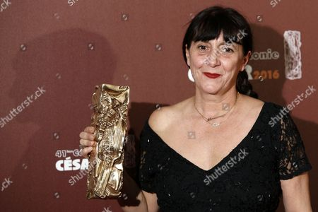 French Producer Sylvie Pialat Poses with the Best Cinematography Award She Received on Behalf of French Cinematographer Christophe Offenstein For 'Valley of Love' During the 41st Annual Cesar Awards Ceremony Held at the Chatelet Theatre in Paris France 26 February 2016 France Paris