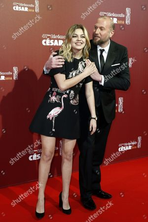 French Actress Louane (l) and Belgian Actor Francois Damiens (r) Arrive For the 41st Annual Cesar Awards Ceremony Held at the Chatelet Theatre in Paris France 26 February 2016 France Paris