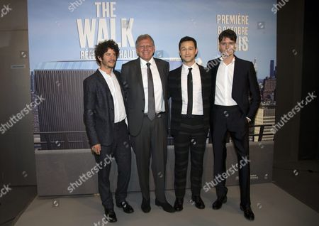(l-r) Cast Members Including French Actor Clement Sibony Director Robert Zemeckis Us Actor Joseph Gordon-levitt and French Actor Cesar Domboy Pose As They Arrive For the Premiere of 'The Walk' in Paris France 06 October 2015 the Movie Will Be Released in French Theaters on 28 October France Paris