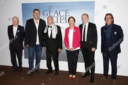 (l-r) French Producer Jerome Seydoux French Director Luc Jacquet French Glaciologist Claude Lorius French Minister For Ecology Segolene Royal French Businessman Francois-henri Pinault and Guest Arrive For the Premiere of the Film 'La Glace Et Le Ciel' (ice and the Sky) in Paris France 07 October 2015 the Movie Opens Across Theaters on 21 October France Paris