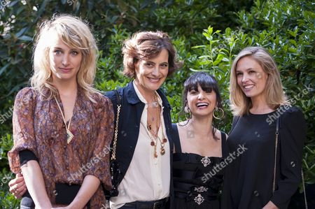 (l-r) French Actress Pauline Lef?vre French Model and Designer Ines De La Fressange Libanese Journalist and Stylist Samar Seraqui De Buttafoco and French Actress Lilou Fogli Arrive at a Charity Event For the Restoration of the Casino Venier in Venice Italy Held at the Italian Cultural Institute in Paris France 15 June 2016 the Alliance Francaise is Housed in the 18th Century Building Already Restored in the 1980s with the Support of the French Committee to Save Venice (cfsvenise) France Paris