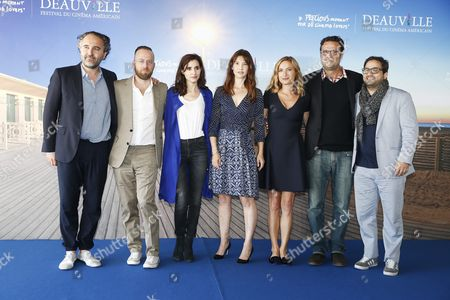 (l-r) French Producer Stephane Elfassi French Musicians of the Scratch Massive Duo Sebastien Chenut and Maud Geffray French Actress Alexia Landeau Us Film Director Zoe Cassavetes Us Film Editor Michael Mees and Us Actor Russell Steinberg Pose For the Photographers During the Photocall For Her Movie 'Day out of Days' at the 41st Annual Deauville American Film Festival in Deauville France 07 September 2015 the Festival Runs From 04 to 13 September France Deauville