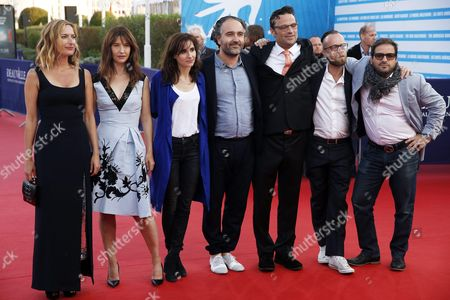 (l-r) Us Director Zoe Cassavetes French Actress Alexia Landeau French Musicians of the Scratch Massive Duo Maud Geffray French Producer Stephane Elfassi Us Film Editor Michael Mees French Musicians of the Scratch Massive Duo Sebastien Chenut and Us Actor Russell Steinberg Arrive on the Red Carpet Prior to the Premiere of 'Experimenter' During the 41st Deauville American Film Festival in Deauville France 07 September 2015 the Festival Runs From 04 to 13 September France Deauville