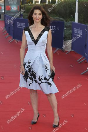 Stock Image of French Actress Alexia Landeau Arrives on the Red Carpet Prior to the Premiere of 'Experimenter' During the 41st Deauville American Film Festival in Deauville France 07 September 2015 the Festival Runs From 04 to 13 September France Deauville