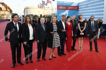 (l-r) Members of the Jury French Actor Louis-do De Lencquesaing French Film Director Sophie Fillieres French Film Director Pascal Bonitzer Swiss Actress Marthe Keller French Film Director Benoit Jacquot French Actress Marie Gillain French Film Director Julien Hirsch French Actress Louise Bourgoin and French Novelist Marc Dugain Arrive on the Red Carpet Prior to the Screening of 'Ruth and Alex' During the 41st Deauville American Film Festival in Deauville France 09 September 2015 the Festival Runs From 04 to 13 September France Deauville