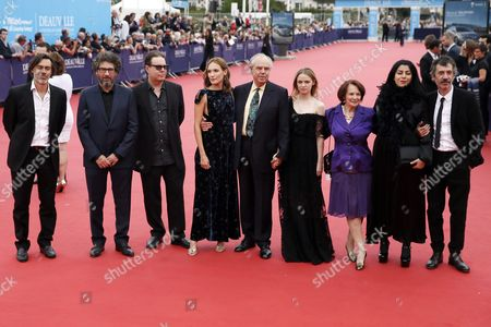 (l-r) Members of the Jury French Moviemaker Emmanuel Mouret French- Romanian Born Moviemaker Radu Mihaileanu Us Writer Douglas Kennedy French Actress Ana Girardot Former French Culture Minister Frederic Mitterrand French Actress Sara Forestier French Actress Francoise Arnoul French Writer and Comedian Marjane Satrapi and French Actor Eric Elmosnino Arrive on the Red Carpet Prior to the Opening Ceremony and the Screening of 'Infiltrator' During the 42nd Deauville American Film Festival in Deauville France 02 September 2016 the Festival Runs From 02 to 11 September France Deauville