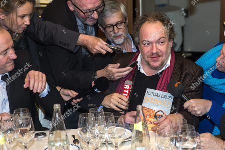Goncourt Literary Price 2015 Laureate French Writer Mathias Enard (r) Answers Questions As He Just Received His Price For His Novel 'Boussole' at the Restaurant Drouant in Paris France 03 November 2015 France Paris