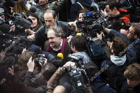 A Large Crowd of Cameramen and Photographers Surround the Goncourt Literary Price 2015 Laureate French Writer Mathias Enard (c) to Get His First Impressions As He Arrives to Receive His Price For His Novel 'Boussole' at the Restaurant Drouant in Paris France 03 November 2015 France Paris