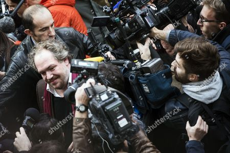 A Large Crowd of Cameramen and Photographers Surround the Goncourt Literary Price 2015 Laureate French Writer Mathias Enard (l) to Get His First Impressions As He Arrives to Receive His Price For His Novel 'Boussole' at the Restaurant Drouant in Paris France 03 November 2015 France Paris