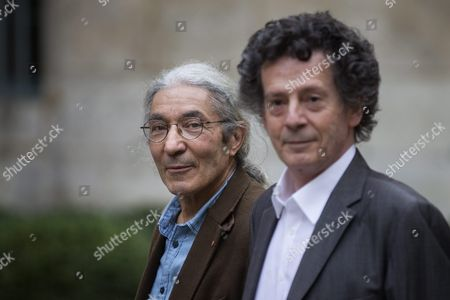 The Laureates of the French Academy Literary Prize 2015 Algerian Author Boualem Sansal (l) For His Novel '2084' and Tunisian Author Hedi Kaddour For His Novel 'Les Preponderants' Pose at the French Academy in Paris France 29 October 2015 the French Academy Literary Prize Celebrates Its 100 Years of Existence France Paris