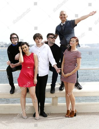 Stock Image of (l-r) Us Youtube Personality Mitchell Davis Us Actress Cyrina Fiallo British Youtube Personality Chris Kendall Us Youtube Personality Jarrett Sleeper British Youtube Personality Tony Valenzuela and Us Youtube Personality Mamrie Hart Pose During a Photocall 'Nilce and Leon' at the International Audiovisual and Digital Content Market Miptv 2016 Held at the Festival Palace in Cannes France 05 April 2016 the Miptv Which Runs From 04 to 07 April is One of the World's Leading International Trade Events Dedicated to International Television Programs and to Digital Content and Interactive Entertainment For All Platforms France Cannes