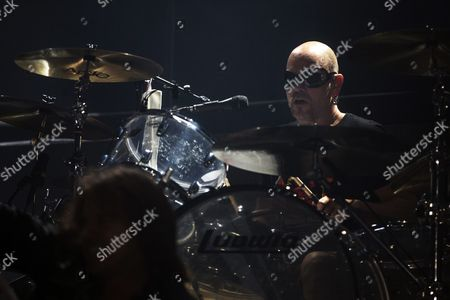 Swedish Drummer Ian Haugland of the Band Europe Performs As the First Part of the Scorpions Concert in Paris France 24 November 2015 France Paris