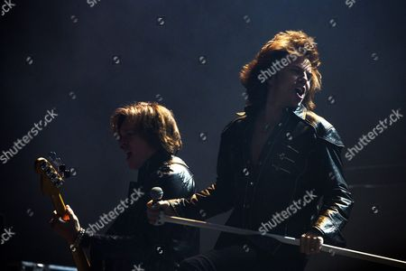 Swedish Singer Joey Tempest (r) and Guitarist John Leven of the Band Europe Performs As the First Part of the Scorpions Concert in Paris France 24 November 2015 France Paris