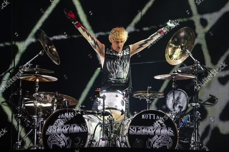 Us Drummer James Kottak of the Band Scorpions Performs During Their Concert in Paris France 24 November 2015 France Paris