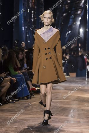 Estonian Model Harleth Kuusik Presents a Creation From the Spring/summer 2016 Haute Couture Collection of Dior Fashion House During the Paris Fashion Week in Paris France 25 January 2016 the Presentation of the Haute Couture Collections Runs From 24 to 28 January France Paris