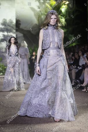 Estonian Model Alexandra Elizabeth Ljadov Presents a Creation From the Spring/summer 2016 Haute Couture Collection by Lebanese Designer Elie Saab During the Paris Fashion Week in Paris France 27 January 2016 the Presentation of the Haute Couture Collections Runs From 24 to 28 January France Paris