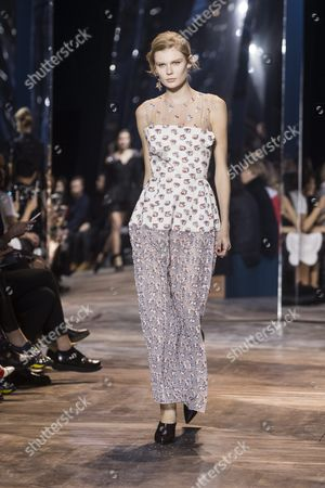 Estonian Model Alexandra Elizabeth Ljadov Presents a Creation From the Spring/summer 2016 Haute Couture Collection of Dior Fashion House During the Paris Fashion Week in Paris France 25 January 2016 the Presentation of the Haute Couture Collections Runs From 24 to 28 January France Paris