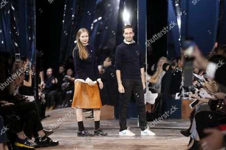 Heads of the Dior Studio Designers Lucie Meier (l) and Serge Ruffieux (r) Acknowledge Guests After Presenting the Spring/summer 2016 Haute Couture Collection of Dior Fashion House During the Paris Fashion Week in Paris France 25 January 2016 the Presentation of the Haute Couture Collections Runs From 24 to 28 January France Paris