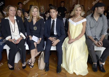 French Former First Lady Valerie Trierweiler (2-l) Her Son Leonard Trierweiler (c) French Tv Personality Eleonore Boccara (2-r) and Guests Attend the Presentation of the Fall/winter 2015/2016 Haute Couture Collection by French-american Fashion Designer Alexandre Delima During the Paris Fashion Week in Paris France 08 July 2015 the Presentation of the Haute Couture Collections Runs From 05 to 09 July France Paris