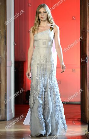 A Model Presents a Creation of the Fall/winter 2015/2016 Haute Couture Collection by French-american Fashion Designer Alexandre Delima During the Paris Fashion Week in Paris France 09 July 2015 the Presentation of the Haute Couture Collections Runs From 05 to 09 July France Paris