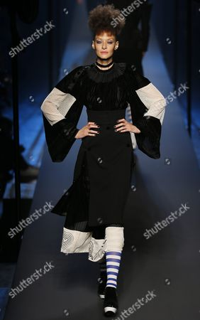 French Model Chrystele Saint Louis Augustin Presents a Creation From the Fall/winter 2015/2016 Haute Couture Collection by French Designer Jean Paul Gaultier During the Paris Fashion Week in Paris France 08 July 2015 the Presentation of the Haute Couture Collections Runs From 05 to 09 July France Paris
