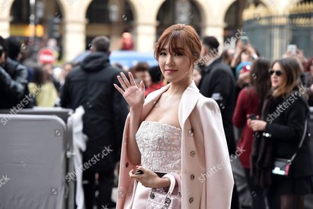 Stock Picture of Us Singer of Kpop Band Girls' Generation Tiffany Hwang Arrives For the Presentation of the Fall/winter 2016/17 Ready to Wear Collection of Dior Fashion House During the Paris Fashion Week in Paris France 04 March 2016 This Dior Show is the First Ready-to-wear Show Since Former Creative Director Raf Simons Quit in October 2015 the Presentation of the Women's Collections Runs From 01 March to 09 March France Paris