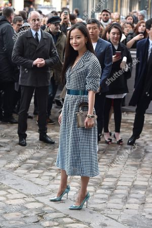 Chinese Actress Wang Luodan (c) Arrives For the Presentation of the Fall/winter 2016/17 Ready to Wear Collection of Dior Fashion House During the Paris Fashion Week in Paris France 04 March 2016 This Dior Show is the First Ready-to-wear Show Since Former Creative Director Raf Simons Quit in October 2015 the Presentation of the Women's Collections Runs From 01 March to 09 March France Paris