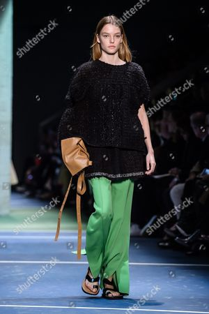Dutch Model Roos Abels Presents a Creation During the Fall/winter 2016/17 Women Ready to Wear Collection by Celine Fashion House During the Paris Fashion Week in Paris France 06 March 2016 the Presentation of the Women's Collections Runs From 01 March to 09 March France Paris