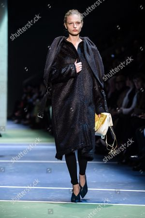 Danish Model Frederikke Sofie Presents a Creation During the Fall/winter 2016/17 Women Ready to Wear Collection by Celine Fashion House During the Paris Fashion Week in Paris France 06 March 2016 the Presentation of the Women's Collections Runs From 01 March to 09 March France Paris