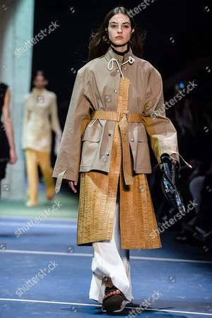 French Model Camille Hurel Presents a Creation During the Fall/winter 2016/17 Women Ready to Wear Collection by Celine Fashion House During the Paris Fashion Week in Paris France 06 March 2016 the Presentation of the Women's Collections Runs From 01 March to 09 March France Paris