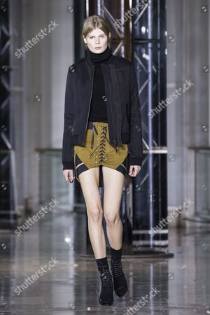 Estonian Model Alexandra Elizabeth Ljadov Presents a Creation From the Fall/winter 2016/17 Ready to Wear Collection by Belgian Designer Anthony Vaccarello During the Paris Fashion Week in Paris France 01 March 2016 the Presentation of the Women's Collections Runs From 01 March to 09 March France Paris