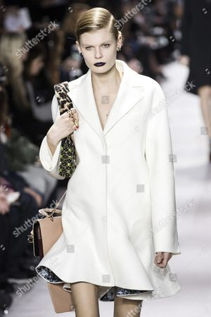 Estonian Model Alexandra Elizabeth Ljadov Presents a Creation From the Fall/winter 2016/17 Ready to Wear Collection by Dior Fashion House During the Paris Fashion Week in Paris France 04 March 2016 the Presentation of the Women's Collections Runs From 01 March to 09 March France Paris