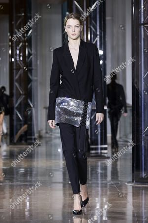 Dutch Model Roos Abels Presents a Creation From the Fall/winter 2016/17 Ready to Wear Collection by Belgian Designer Anthony Vaccarello During the Paris Fashion Week in Paris France 01 March 2016 the Presentation of the Women's Collections Runs From 01 March to 09 March France Paris