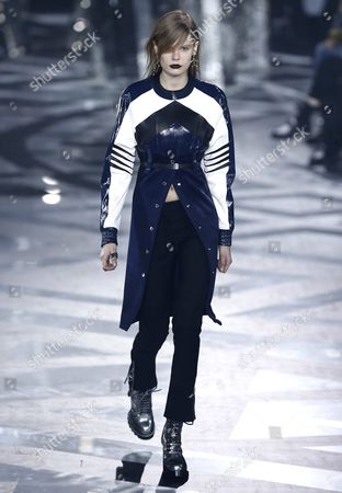 Stock Photo of Estonian Model Alexandra Elizabeth Ljadov Presents a Creation From the Fall/winter 2016/17 Ready to Wear Collection by French Designer Nicolas Ghesquiere For Louis Vuitton Fashion House During the Paris Fashion Week in Paris France 09 March 2016 the Presentation of the Women's Collections Runs From 01 March to 09 March France Paris
