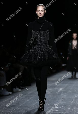 Belgian Model Ine Neefs Presents a Creation From the Fall/winter 2016/17 Ready to Wear Collection by Valentino Fashion House During the Paris Fashion Week in Paris France 08 March 2016 the Presentation of the Women's Collections Runs From 01 March to 09 March France Paris