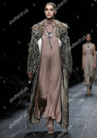 French Model Camille Hurel Presents a Creation From the Fall/winter 2016/17 Ready to Wear Collection by Valentino Fashion House During the Paris Fashion Week in Paris France 08 March 2016 the Presentation of the Women's Collections Runs From 01 March to 09 March France Paris