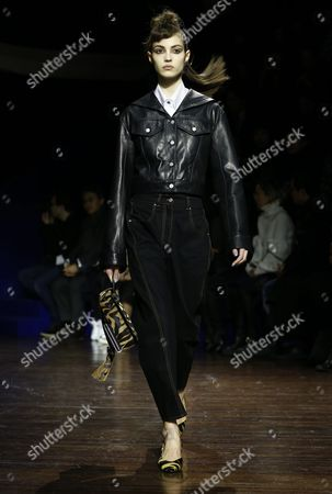 French Model Camille Hurel Presents a Creation From the Fall/winter 2016/17 Ready to Wear Collection by Kenzo Fashion House During the Paris Fashion Week in Paris France 08 March 2016 the Presentation of the Women's Collections Runs From 01 to 09 March France Paris