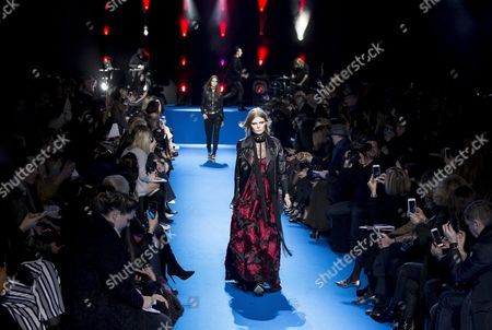 Estonian Model Alexandra Elizabeth Ljadov Presents a Creation From the Fall/winter 2016/17 Ready to Wear Collection by Lebanese Designer Elie Saab During the Paris Fashion Week in Paris France 05 March 2016 the Presentation of the Women's Collections Runs From 01 March to 09 March France Paris