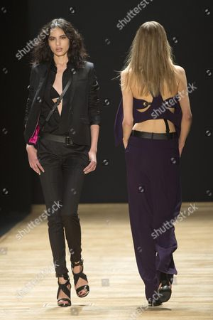 Russian Model Irina Sharipova Presents a Creation From the Spring/summer 2016 Ready to Wear Collection by French Designer Barbara Bui During the Paris Fashion Week in Paris France 01 October 2015 the Presentation of the Women's Collections Runs From 29 September to 07 October France Paris