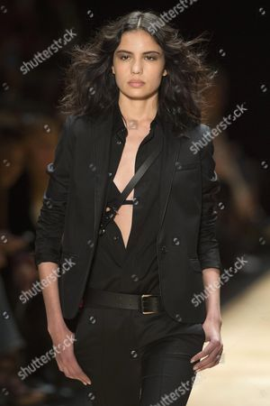 Stock Photo of Russian Model Irina Sharipova Presents a Creation From the Spring/summer 2016 Ready to Wear Collection by French Designer Barbara Bui During the Paris Fashion Week in Paris France 01 October 2015 the Presentation of the Women's Collections Runs From 29 September to 07 October France Paris