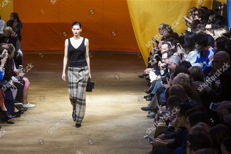 Estonian Model Katlin Aas Presents a Creation From the Spring/summer 2016 Ready to Wear Collection by British Designer Phoebe Philo For Celine During the Paris Fashion Week in Paris France 04 October 2015 the Presentation of the Women's Collections Runs From 29 September to 07 October France Paris