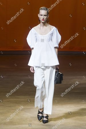 Estonian Model Harleth Kuusik Presents a Creation From the Spring/summer 2016 Ready to Wear Collection by English Designer Phoebe Philo For Celine During the Paris Fashion Week in Paris France 04 October 2015 the Presentation of the Womens Collections Runs From 29 September to 07 October France Paris