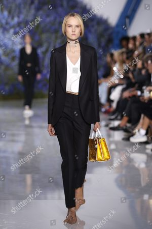 Estonian Model Harleth Kuusik Presents a Creation From the Spring/summer 2016 Ready to Wear Collection by Belgian Designer Raf Simons For Dior Fashion House During the Paris Fashion Week in Paris France 02 October 2015 the Presentation of the Women's Collections Runs From 29 September to 07 October France Paris