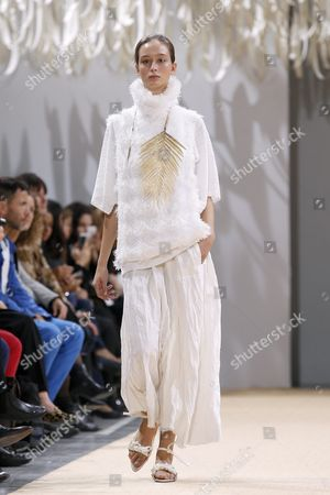 Stock Picture of A Model Presents a Creation From the Spring/summer 2016 Ready to Wear Collection by German Designer Andrea Karg For Allude During the Paris Fashion Week in Paris France 07 October 2015 the Presentation of the Womens Collections Runs From 29 September to 07 October France Paris